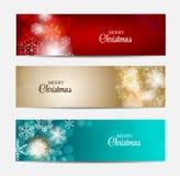 Intestazione del sito Web dei fiocchi di neve di Natale ed insieme dell'insegna Fotografie Stock
