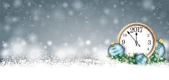 Intestazione 2017 dell'orologio dei ramoscelli delle bagattelle di Gray Christmas Card Snow Cyan Fotografia Stock