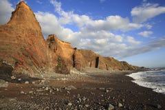 Intestazione della spiaggia di Duckpool verso il bude Cornovaglia Regno Unito Fotografia Stock Libera da Diritti