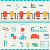 Intestazione dello spazio di Coworking ed elementi di Infographics Immagini Stock