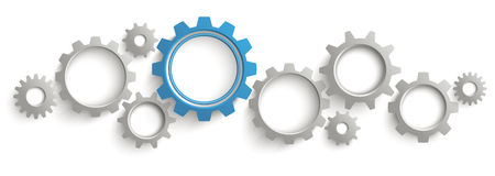 Intestazione di Gray Blue Gears White Background Immagine Stock