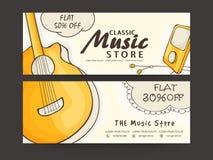 Intestazione di web di Music Store o insieme dell'insegna Immagini Stock