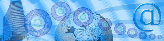 Intestazione: Internet, commercio elettronico e collegamenti Fotografie Stock Libere da Diritti