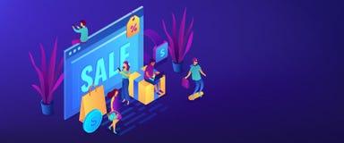 Intestazione isometrica dell'insegna 3D concetto online di vendite di pro royalty illustrazione gratis