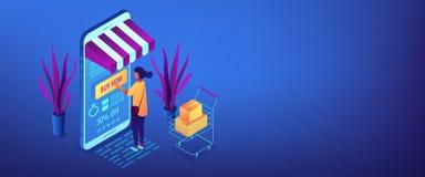 Intestazione isometrica dell'insegna 3D di concetto online dell'acquisto illustrazione vettoriale