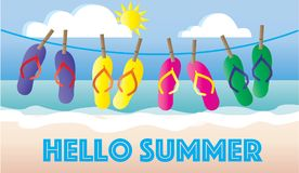 Intestazione o insegna della spiaggia di vacanza di flip-flop di estate Immagini Stock