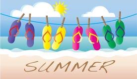 Intestazione o insegna della spiaggia di vacanza di flip-flop di estate Fotografia Stock Libera da Diritti
