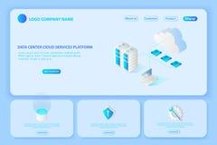 Intestazione per il sito Web dei servizi della nuvola del centro dati della piattaforma pagina s royalty illustrazione gratis