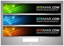 Intestazioni di web con la dimensione precisa, insieme delle insegne Fotografie Stock Libere da Diritti