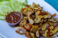 Intestin grillé de porc, nourriture thaïlandaise Images libres de droits