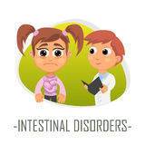 Intestinal disorders medical concept. Vector illustration. Stock Photography