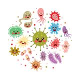 Intestinal Flora Cute Character Collection. Cute little intestinal flora bacteria character collection royalty free illustration