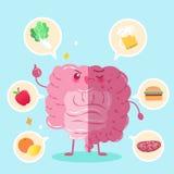 Intestine with health concept. Cute cartoon intestine with health concept on green background vector illustration