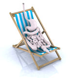 Intestines and stomach tired. They rest on beach chair, 3d illustration Royalty Free Stock Photos