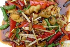 Intestini fritti della carne di maiale con peperoncino immagini stock