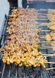 Intestino del pollo de la parrilla en la estufa (estilo tailandés) imágenes de archivo libres de regalías