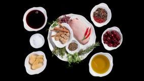 Intgridienty στο στήθος παπιών πιάτων με τα αχλάδια Στοκ εικόνες με δικαίωμα ελεύθερης χρήσης