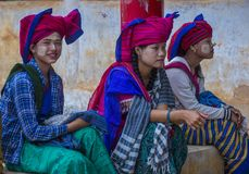 Intha tribe women in Myanmar royalty free stock photos