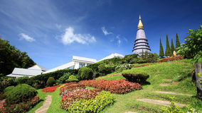 Inthanon pagoda and beautiful garden Stock Photo
