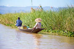 Inthas travel on boat in Inle, Myanmar Asia Royalty Free Stock Images