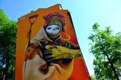 INTI graffiti painting in Oslo. A huge graffiti painting at Tøyen, Oslo, made by Chilean graffiti artist INTI Stock Photography