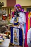 Inti Raymi celebation in Riobamba, Ecuador. RIOBAMBA, ECUADOR - JUNE 20, 2010: Unidentified dancer with elaborate colorful costume at Inti Raymi indigenous Stock Images