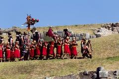 Inti Raymi Ceremony Peru South Amerika Inca Costumes arkivfoton