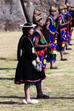 Inti Raymi Ceremony Peru South Amerika Inca Costumes arkivbilder