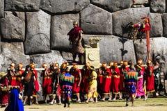 Inti Raymi Ceremony Peru South Amerika Inca Costumes King fotografering för bildbyråer