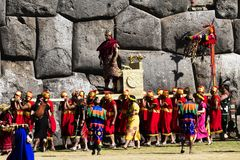 Inti Raymi Ceremony Peru South Amerika Inca Costumes King stockbild