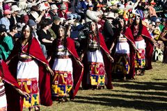 Inti Raymi Ceremony Peru South Amerika Inca Costumes Women lizenzfreie stockfotos