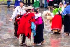Inti Raymi di celebrazione indigeno non identificato, Inca Festival del Sun in Ingapirca, Ecuador immagini stock