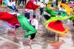 Inti Raymi di celebrazione indigeno non identificato, Inca Festival del Sun in Ingapirca, Ecuador immagine stock