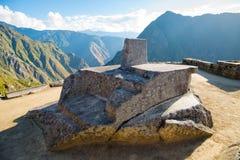 Intihuatana, sacred sun dial in Inca ruins Machu Picchu, Peru, South America