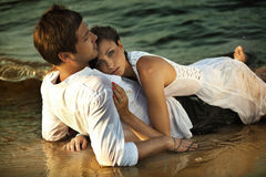 Intimacy on the beach. Picture presenting intimacy on the beach stock photo