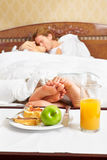 Intimate couple and breakfast Royalty Free Stock Photography