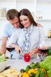 Intimate couple preparing dinner Stock Photos