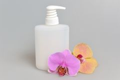 Intimate gel or liquid soap dispenser pump plastic bottle orchid. Flowers on gray background Stock Image