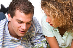 Intimate moments. Young girl and boy close together sharing some intimate moments Stock Photo
