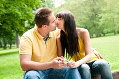Intimate moments - couple kissing Royalty Free Stock Images