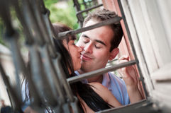 Intimate moments - young couple outdoors Stock Image