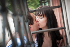 Intimate moments - young couple outdoors Royalty Free Stock Photo
