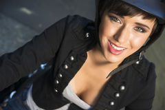 Intimate Portrait Young Glowing Woman Sitting on Motorcycle Stock Photo