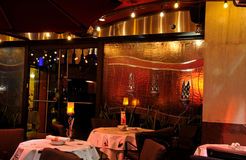 Intimate restaurant. Interior of intimate restaurant with soft lighting Royalty Free Stock Photography