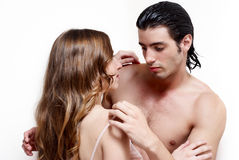 Intimate young couple during foreplay Royalty Free Stock Photo