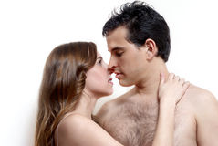 Intimate young couple during foreplay Royalty Free Stock Photography