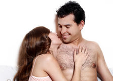 Intimate young couple during foreplay Stock Photo