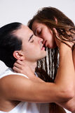 Intimate young couple during foreplay Royalty Free Stock Image