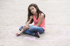 Intimate zone and body language with preteen girl Stock Photography