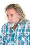 Intimidated Male. Single isolated adult male with intimidated expression Stock Photo